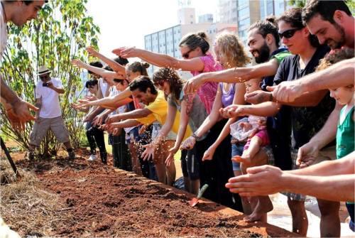Primeiro dia da Horta Comunitária do Centro Cultural São Paulo (foto do coletivo Hortelões Urbanos)